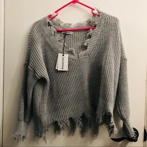 Knit Cropped Sweater Detail-Frayed Trim